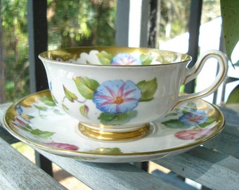 Royal Chelsea Morning Glory Tea Cup and Saucer England