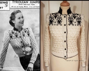 PDF Knitting Pattern for a Fair Isle Tyrolean Yoked Cardigan - 1940's - Instant Download