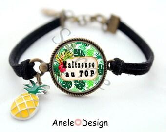 Bracelet for teacher, teacher, thank you teacher gift, tropical summer TOP, pineapple, cabochon centerpiece