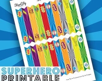 Superhero Straw Flags, Printable Party Flags, Printable Straw Flags, Printable Party supplies, Straw Flags, Super hero straw flags,