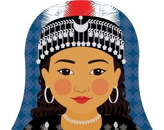 Assyrian Wall Art Print featuring cultural traditional dress drawn in a Russian matryoshka nesting doll shape