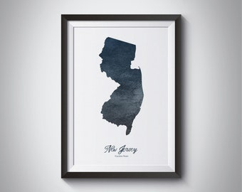 New Jersey State Map, Instant Download, Digital Print, New Jersey Art Map