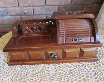Vintage Wood Roll Top Men's Jewelry Box Montgomery Wards.