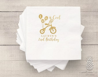 2nd Birthday Party Napkins | Personalized Napkin | Tricycle Napkins