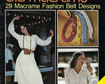 Vintage 1978 Belts a la Macrame 29 Patterns Craft Instructions Book