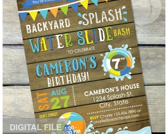 "Splash Water Slide Waterslide Bash Birthday Party Invitation Rustic Wood Country Style Blue - DIGITAL Printable Invite - 5"" x 7"""