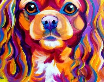 King Charles Spaniel, Pet Portrait, DawgArt, Dog Art, Pet Portrait Artist, Colorful Pet Portrait, Spaniel Art, Art Prints, Art