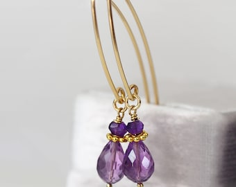 Amethyst Drop Earrings - Dainty Teardrop Earrings - Amethyst Earrings Gold - February Birthstone - Purple Gold Earrings - Amethyst Jewellery