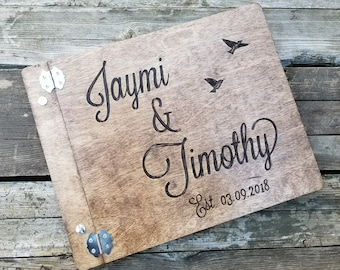 Personalized wooden wedding guestbook rustic custom wedding sign in book alternate coastal guest book scrapbook advice or photo guest book