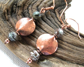 Smooth Copper Disc and Orbicular Jasper Long Dangly Earrings