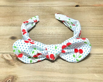 Cherry Headband- Bandana Headband; PolkaDot Headband; Tie Knot Headband; Top Knot Headband; Baby Headbands; Girls Headband; Headwrap