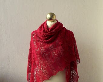 Red hand knitted  silk  lace shawl