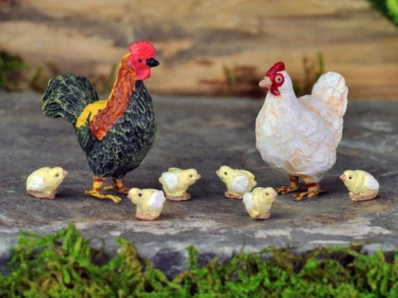 Fairy Garden Animals, Miniature Animals, Miniature Garden Animals, Mini  Chicken, Mini Hen, Mini Chicks, Miniature Farm Animal, Fairy Chicken