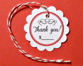25 flower tags thank you tags jewelry tags mini circle tags clothing price tags scalloped tags white tags w ties product tags craft supplies