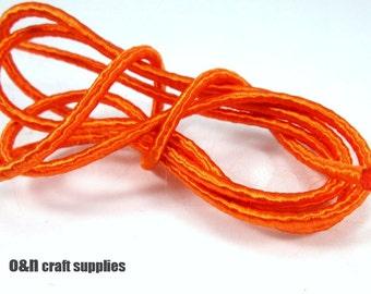 Wrapped silk cord, satin rope, orange, 1.6 meters