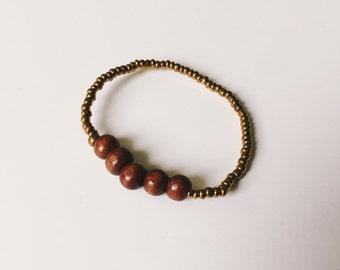 Dark Wood Bead Bracelet