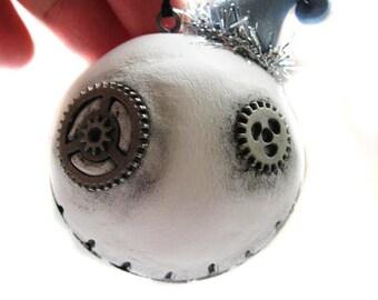 Christmas Ornament - Steampunk Decor - Steampunk Ornament - Silver Gears