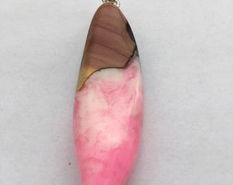 Western Red Cedar Resin Pendant, Pink, White