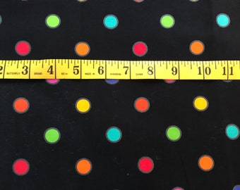 """Vintage Lakehouse Dry Goods Fabric Black background with colorful dots 15"""" x 42"""""""