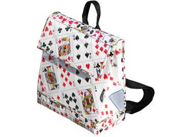 Upcycled Rucksack, Spielkarten Tasche, Rucksack für Frauen, Eco-freundlich-Rucksack, Rucksack Vegan, nachhaltige Geschenke für Sie