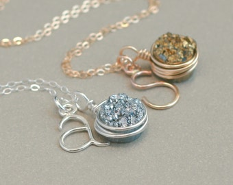 druzy initial necklace. personalized initial and druzy quarts. in sterling SILVER or GOLD. bridesmaid jewelry.