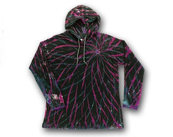 Tie Dye • L • Women's Long Sleeve Hooded T-Shirt • Black Pink Teal Spirograph • Reverse Dyed
