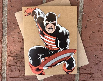 Marvel Vintage Avengers Captain America in US Agent Uniform Comic Book Greeting Card (Blank)