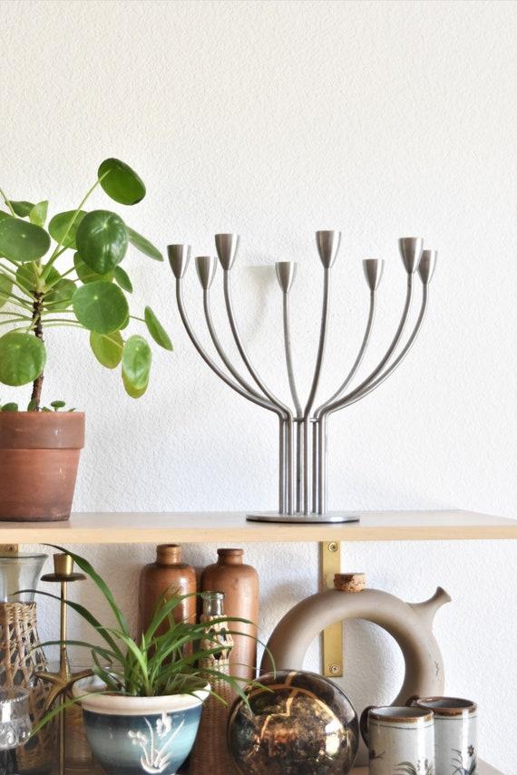 large silver metal candelabra / statement candlestick candleholders / 1 candleholder
