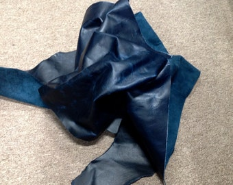 AB191.  Distressed Navy Blue Leather Cowhide Partial