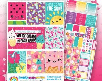 Hello Summer!/Cute Ice Cream/Tropical Weekly Kit, Planner Stickers, Erin Condren Vertical, Kawaii, Cute Sticker, UK