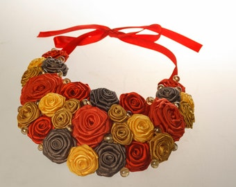 Bib Necklace, Flowers Necklace, Red, Gold, Yellow, Statement Necklace, Satin ribbon roses necklace,Elegant bib necklace, Christmas gift idea