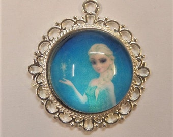 28mm Elsa Frozen Inspired Pendant, Princess Pendant, Pendant for chunky bead  Necklace, Z14