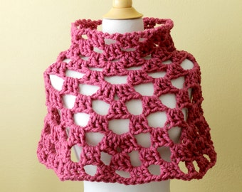 Crocheted Chunky Red Capelet. Poncho. Cowl.