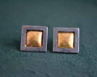 Hammered Stud Earrings, 24K Gold and Oxidized Sterling Silver Earrings, Geometric Stud Earrings, Square Studs, Gift for Her