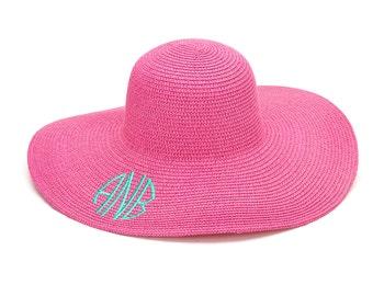 Pink Monogram Beach Hat Floppy Beach Hat Floppy Sun Hat Monogrammed Beach Hat Sun Hat Women Sun Hats For Women Monogram Floppy Hat
