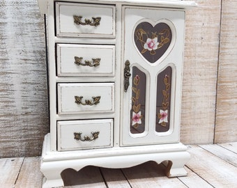 Shabby Chic Vintage Wooden Jewelry Armoire Painted Antique White And  Distressed Upcycled Refurbished Rustic Jewelry Box