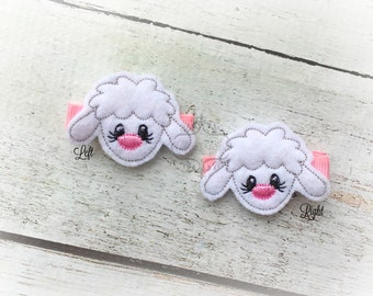 Lamb hair clip Little Lamb clip Sweet Lamb Easter hair clip. Pick Left side or Right.