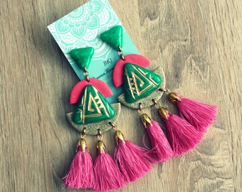 Earrings with tassels. Polymer clay