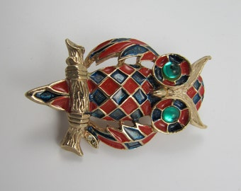 Vintage Owl Brooch Harlequin Checkered Diamonds Pin Large