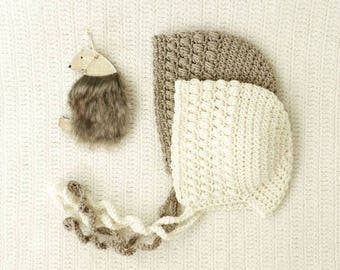 puff cotton merino baby bonnet - newborn outfit - handmade baby bonnet - knit baby hat - knitted baby bonnet