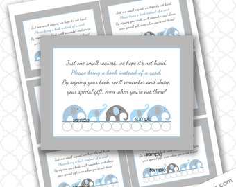 Blue elephant book request card, Bring a book insert card, boy book baby shower, printable book request, INSTANT download