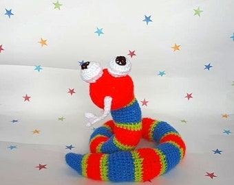 Stuffed Snake, Toy Snake, Poseable Snake, Crochet Snake, Amigurumi Snake, Colourful Snake, Kids Teddy, Snake Lover, Forked Tongue Snake