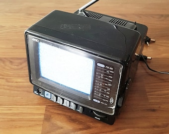 Vintage 1991 MTC Portable 5 Inch Television, With Dual Band Radio, Model MTV-50, In Working Condition