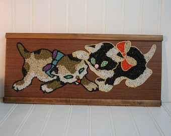 Vintage Mid Century Gravel Art Wall Hangings, kittens, Cats. Mosaic by Number.