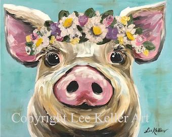 Pig Art, Pig Decor. Cute Pig With Flowers Print. Farmhouse Pig Art, Pig  With Flower Crown Art, Cute Pig Nursery, Kitchen Art