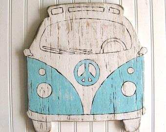 VW Bus Sign Beach House Decor Hippie Decor Bus Decor Microbus Wooden VW Bus Camper Bus Outdoor Wooden Signs