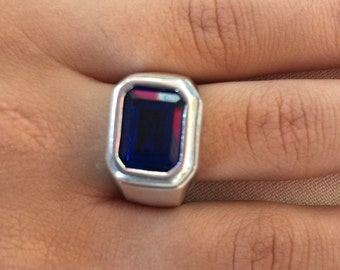 Blue zircon silver ring, Zircon silver ring, Ring size 9, Statement ring, Bohemian style ring, Blue zircon ring, Silver zircon ring, Zircon,