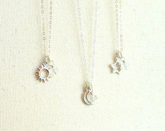 3 Best friend necklaces best friend gift set pagan sun moon star necklace sterling silver celestial jewelry