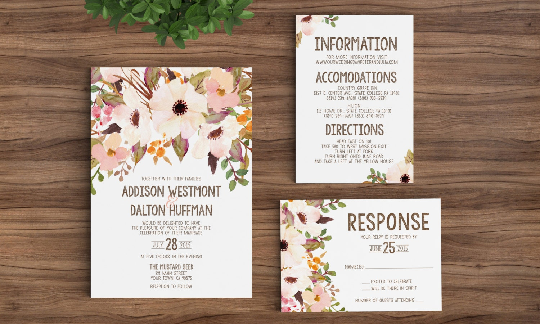 Wedding Invitation Template Printable Rustic Bohemian Floral