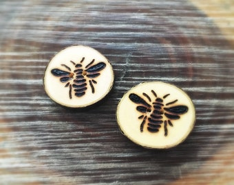 Ready to go wood burned bee button set of 2